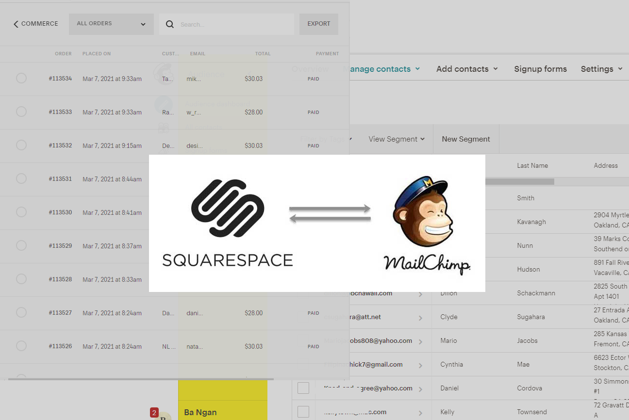Squarespace Workflow: Connect Order to Mailchimp